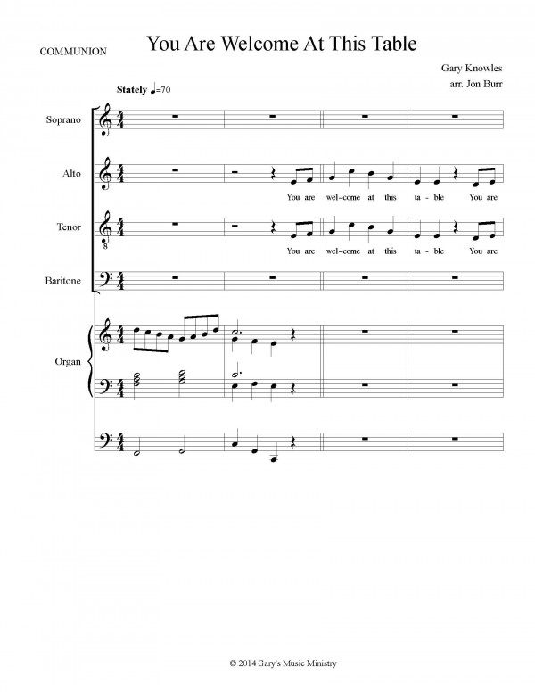 Song of Holy Communion, page one
